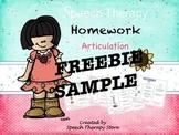 Speech Therapy FREE Homework Articulation September Sample