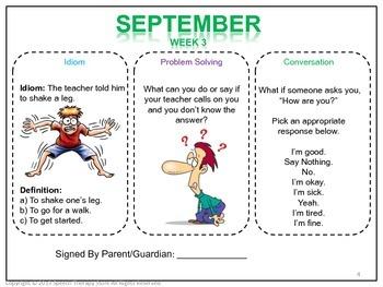 Speech Therapy FREE Homework Social Pragmatics September Sample