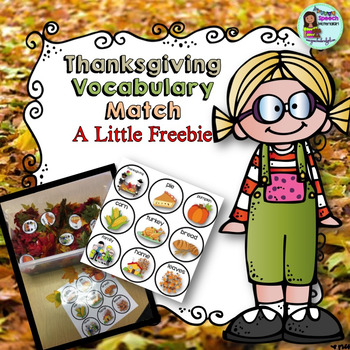 Speech Therapy FREEBIE Thanksgiving Matching Vocabulary boards