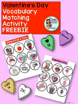 Speech Therapy FREEBIE Valentines Day Matching Vocabulary boards