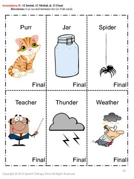 Speech Therapy Fall Articulation R Games