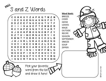 Speech Therapy: Fall Word Searches and Word Scrambles
