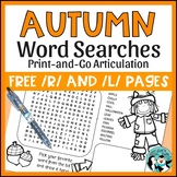 Speech Therapy: Fall Word Searches for Articulation - FREE