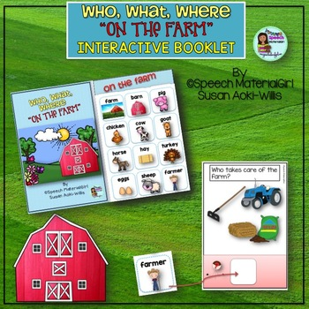 Speech Therapy Farm Who What Where interactive booklet