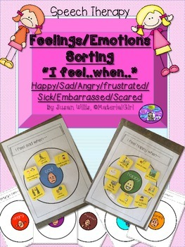 Speech Therapy Feelings/Emotions Circle Maps Sort I feel..