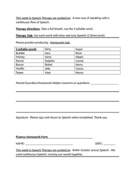 Speech Therapy: Fluency Homework packet # 2