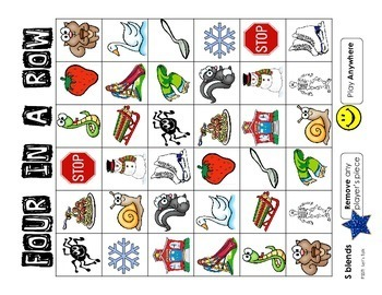 Speech Therapy:  Four in a Row - Articulation for S and S Blends