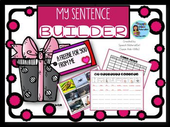 Speech Therapy Freebie gift Sentence Builder template complex sentences grammar