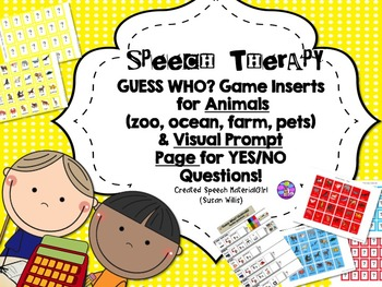Speech Therapy GUESS WHO? Animals Categories Yes/No questi
