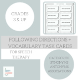 Following Directions Game with Vocabulary for Speech Therapy - Growing Bundle