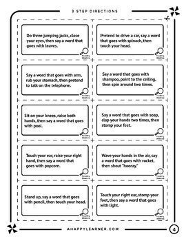 Following Directions Word Retrieval Game for Speech Therapy WORD ASSOCIATIONS