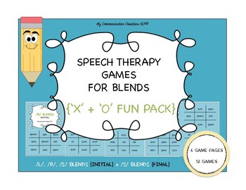 Speech Therapy Games for L, R, S Blends {'X' and 'O' Fun Pack}