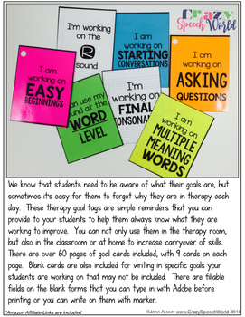 Speech Therapy Goal Tags