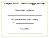 Speech Therapy Graduation Certificate Freebie