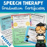 Speech Therapy Graduation Certificates - FREEBIE