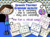 Speech Therapy Grammar He She is verbing They are verbing present tense sentence