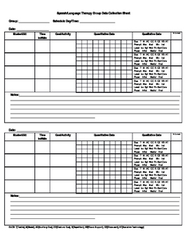 Speech Therapy Group Data Collection Form