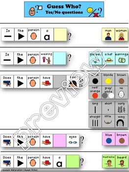 Speech Therapy Guess Who? Game VISUAL SUPPORT Asking Yes/No Questions Autism