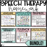 Speech Therapy Homework Color Sheets BUNDLE
