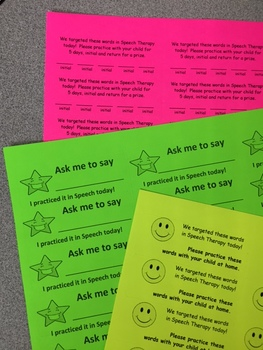 Speech Therapy Homework Labels