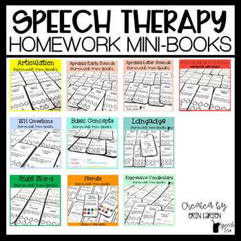 Speech Therapy Homework Mini-Books BUNDLE