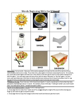 Speech Therapy Homework Sheets - S Initial, Final and Medial