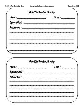 Speech Therapy Homework Slip