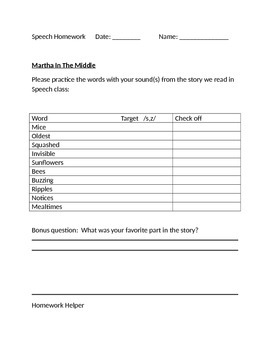Speech Therapy: Homework for-  Martha In The Middle