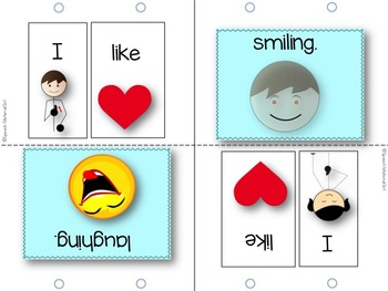 Speech Therapy I like verbs Flipbook booklet Autism expressive language