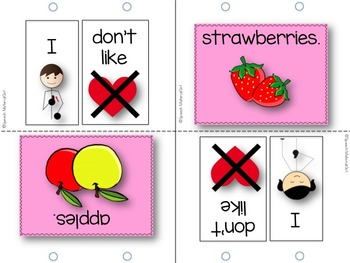 Speech Therapy I like FOOD Flipbook booklet Autism expressive language