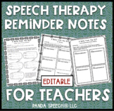 $1 Speech Therapy Notes for Teachers