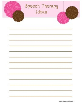 Speech Therapy Ideas Notes Page