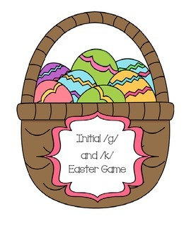 Speech Therapy: Initial /g/ and /k/ Easter Egg game