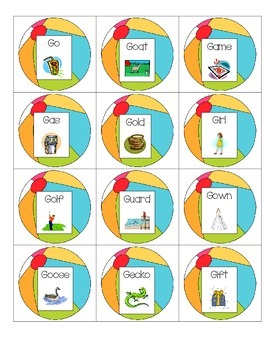 Speech Therapy: Initial /g/ and /k/ Summer beach ball game