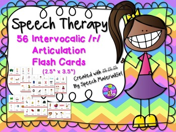 """Speech Therapy Intervocalic /r/ 56 Articulation Color Flash Cards 2.5"""" x 3.5"""""""