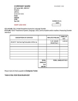 Speech Therapy Invoice By Fun With Speech Therapy TpT - Speech therapy invoice template