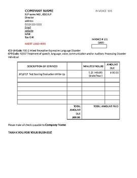 Speech Therapy Invoice
