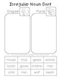 Speech Therapy - Language Arts Irregular Plural Noun Cut and Paste (L.2.1.b.)