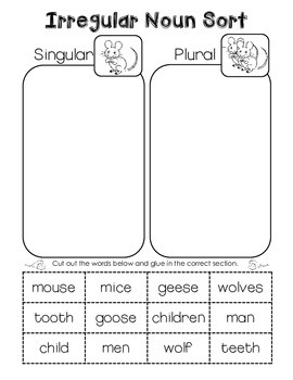Speech Therapy - Language Arts Irregular Plural Noun Cut and Paste ...