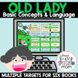 Speech Therapy Language & Basic Concepts BOOM CARDS | Old Lady Book Companion