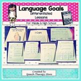 Speech Therapy Language Goals Secondary Grades: 5 Differen