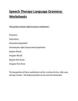Speech Therapy Language Grammar Worksheets