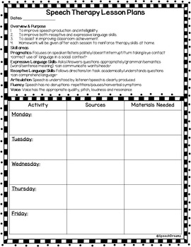 Speech therapy lesson plan template weekly or monthly for Speech pathology lesson plan template