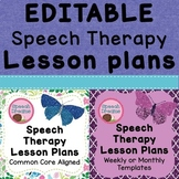EDITABLE Speech Therapy Lesson Plans Bundle {Common Core Standards}