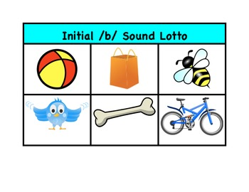 Speech Therapy - Lotto Game for Initial B Sound