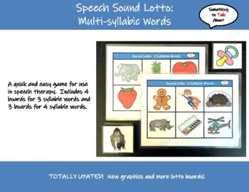 Speech Therapy - Lotto Game for Weak Syllable Deletion