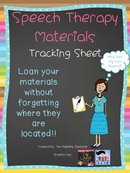 Speech Therapy Materials Tracking Sheet FREEBIE