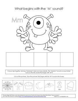 """Speech Therapy Monster Freebie- What Begins with 'M""""? Phonological Awareness"""