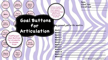 Speech Therapy Goal Tracking - Articulation