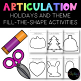 Speech Therapy: NO PREP Holiday/Theme Fill-the-Shape Artic
